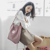 側背包 帆布包包女單肩斜跨韓版ins文藝小清新大容量手提購物袋(6色)
