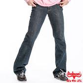 【BOBSON】男款輕刷白低腰喇叭褲(深藍52)