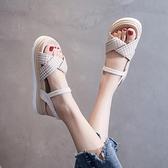 配裙子涼鞋女仙女風2021夏季新款韓版厚底鬆糕鞋網紅超火沙灘鞋潮4 幸福第一站