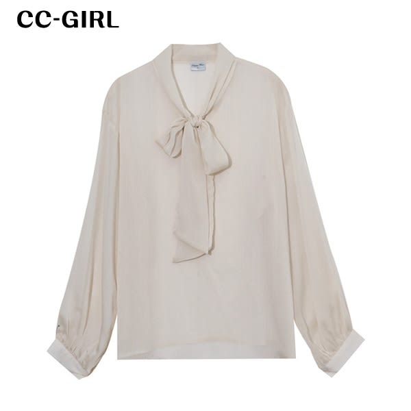 中大尺碼 領綁帶襯衫透膚上衣 - 適XL~5L《 7009 》CC-GIRL