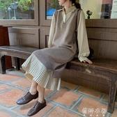 洋裝秋冬新款韓版寬鬆V領針織洋裝女中長款百搭無袖氣質裙子ins 蓓娜衣都