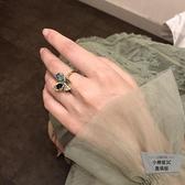 復古雀藍琺瑯指環鋯石蝴蝶開口女戒指【小檸檬3C】