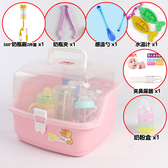 兒童奶瓶收納箱盒瀝水晾干架便攜餐具防塵大號儲存奶粉置物盒RM