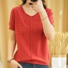 紅色亞麻短袖針織衫女半袖寬鬆棉麻v領t恤...