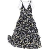 短袖洋裝-假兩件拼接碎花雪紡裙女連身裙73yd49【時尚巴黎】