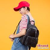 iBrand後背包 簡約真皮皮飾口袋後背包-黑 SPL-8058-BK