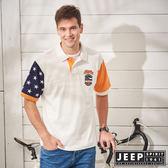 【JEEP】撞色拼接美國風短袖POLO衫-白