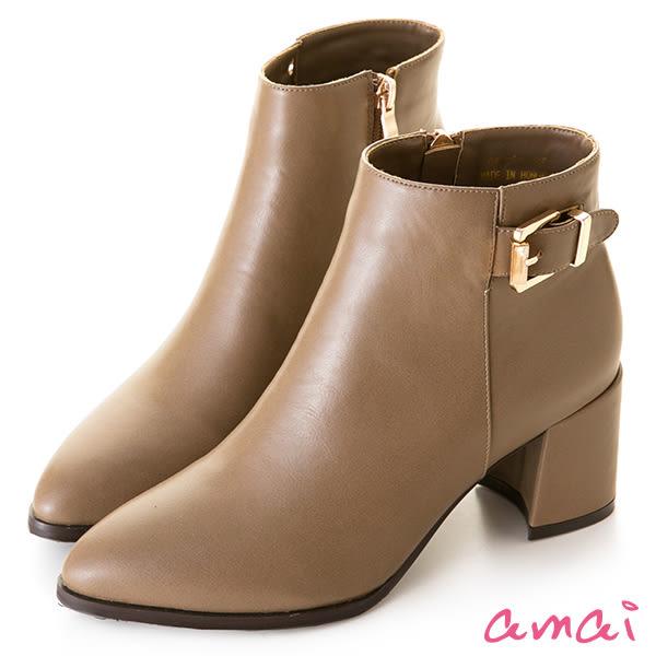 amai細緻皮帶小開衩素面粗跟短靴 杏