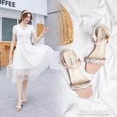 涼鞋 夏季女鞋韓版百搭中跟粗跟一字扣帶涼鞋女時尚羅馬仙女風