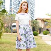 (現貨 RN-girls)-清爽紫色棉質印花夏日短袖套裝
