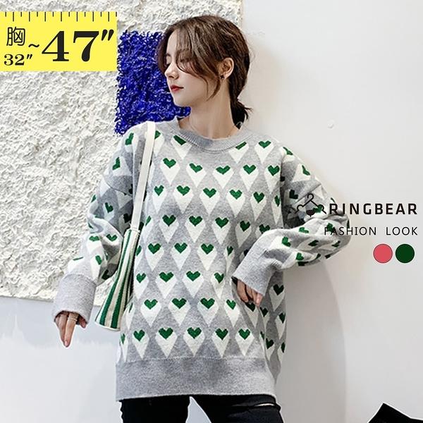 針織上衣--休閒修身顯瘦活潑可愛滿版撞色愛心長袖針織毛衣(紅.綠M-3L)-X397眼圈熊中大尺碼◎