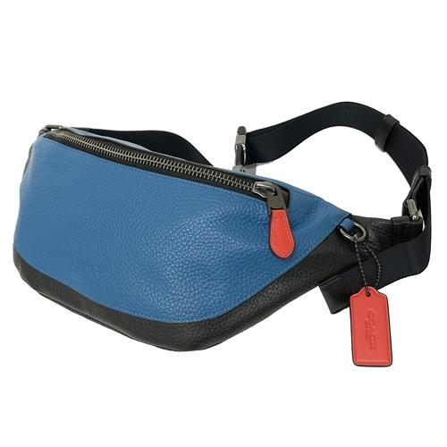 【COACH】牛皮肩斜背中性男款兩用胸前包腰包(配色藍)