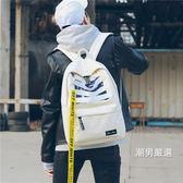 書包男正韓原宿高中學生街拍時尚潮流校園帆布後背包背包