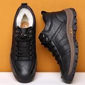 男士棉鞋冬季新款加絨保暖加厚皮毛一體休閒高幫皮鞋防滑男雪地靴