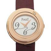 PIAGET 伯爵 鑲單鑽玫瑰金K18PG石英錶殼桃紫色皮帶腕錶 Posession GOA31091 BRAND OFF