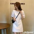 白色洋裝 泡泡袖連身裙女白色2021新款夏季法式小眾氣質收腰顯瘦小個子裙子 愛麗絲
