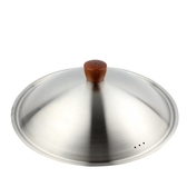 派力新款生態全鋼蓋加厚不銹鋼鍋蓋砂光面鋼蓋配炒鍋蓋子木頭鍋扭
