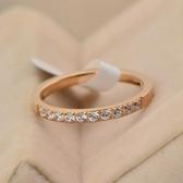 玫瑰金鑲鑽純銀戒指-簡約單排閃亮細邊生日母親節禮物女飾品71am9【巴黎精品】