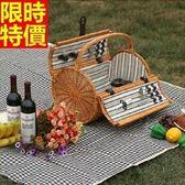 野餐籃 餐具組合-情侶戶外踏青兩人份郊遊用品68e23【時尚巴黎】