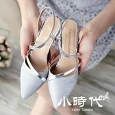 穆勒鞋 夏季高跟鞋細跟包頭時尚女鞋淺口銀色中跟單鞋一字扣涼鞋