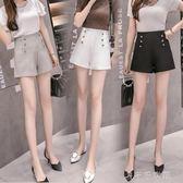 新款女裝夏裝時尚雙排扣高腰休閒褲女短褲寬鬆顯瘦a字寬管褲「千千女鞋」