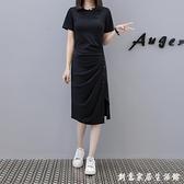2020夏季新款短袖黑色不規則開叉氣質洋裝中長款圓領顯瘦t恤裙 聖誕節免運