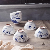 釉下彩陶瓷米飯碗十二生肖碗套裝簡約4.5寸高腳陶瓷碗【愛物及屋】