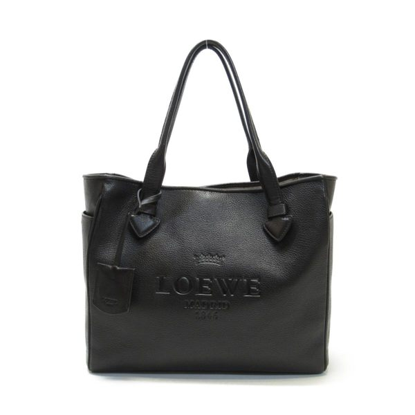 LOEWE 黑色logo壓紋全皮拉鍊方形手提肩背兩用包 【BRAND OFF】