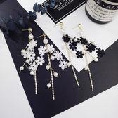 韓流優雅蕾絲花朵珠珠鑲鑽流蘇耳環耳飾氣質度假耳環女【ADE233】