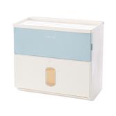 【三房兩廳】衛生紙大容量雙層防水面紙盒(免釘無痕衛生紙掛架) -藍色
