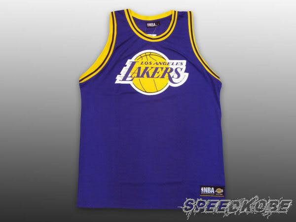 NBA 復古-大LOGO 球衣 湖人隊-紫色 網狀透氣材質 KOBE 親子裝 小朋友 # 8332801-025 ☆speedkobe☆