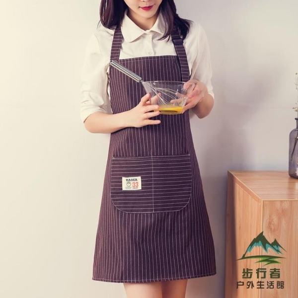 純棉可調節工作服女可愛日系防水防油家用廚房圍裙【步行者戶外生活館】