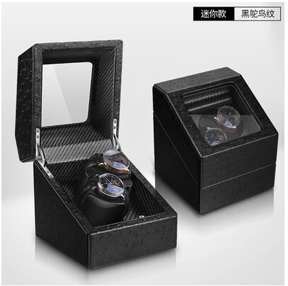 搖表器 自動機械表轉表器晃表器上弦器上鍊盒手錶收納盒迷你 家用【迷你2+0黑鴕鳥紋】
