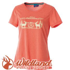 【Wildland 荒野 女款 RE印花時尚抗UV圓領上衣《橘》】0A51693/短袖排汗衣/排汗衣★滿額送