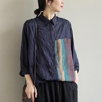 純棉翻領拼色襯衫 休閒單排扣長袖襯衫/3色-夢想家-0325