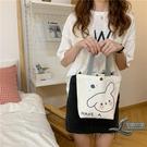 手提包可愛卡通熊兔子印花帆布包百搭環保購物袋小布袋【邻家小鎮】