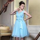 東京衣服 天鵝湖 胸前抓皺 腰間蝶結 彈力紗裙洋裝小禮服 天藍