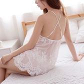 睡衣女夏情調衣人性感露背透視蕾絲肚兜裙刺繡火辣成人吊帶裙睡裙 小巨蛋之家