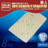 床墊  日本超人氣 3D可水洗專利 抗菌透氣-單人(活力咖) KOTAS