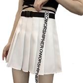 EASON SHOP(GW7050)實拍送壓釦腰帶字母緞帶飄帶裝飾百褶裙防走光收腰傘狀A字裙高腰短裙膝上裙半身裙