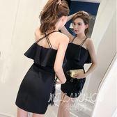 ✎﹏₯㎕ 米蘭shoe  一字肩連衣裙夏裝新款韓版時尚性感露背修身A字裙短裙夏