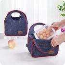 新款牛仔料保溫袋便當包加厚手提午餐帶飯包飯盒袋防水保鮮保溫包