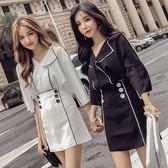 套裝女夏2018新款韓版氣質撞色翻領七分袖襯衫 雙排扣高腰半身裙