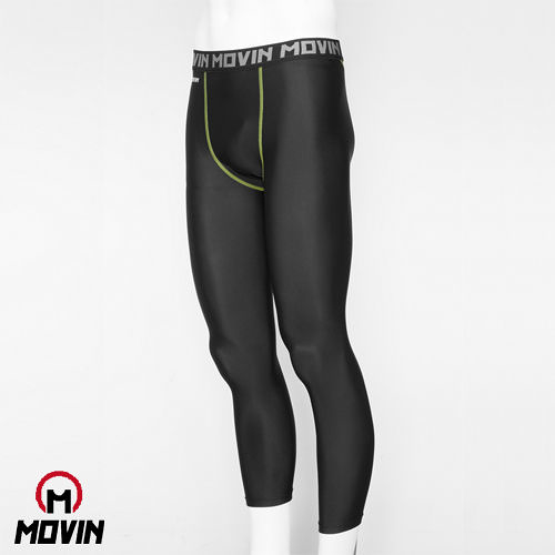 MOVIN  運動彈力長褲  黑綠  MB31102BG  機能運動長褲----男/女