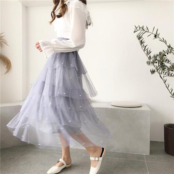 網紗半身裙女春季新款韓版chic溫柔仙女裙中長版高腰蛋糕裙 Korea時尚記