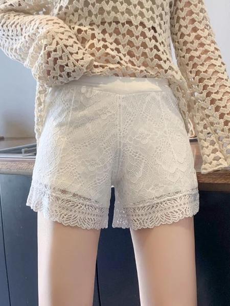 安全褲 居家可外穿安全褲女防走光寬鬆打底褲短褲蕾絲夏季白色薄款不卷邊 非凡小鋪
