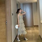 性感洋裝 波點吊帶洋裝女2021夏季新款法式碎花雪紡裙子蛋糕長裙性感顯瘦