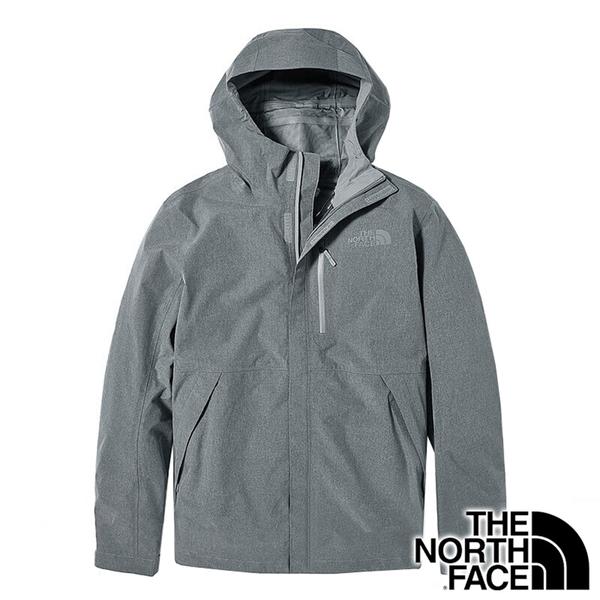 【THE NORTH FACE 美國】男 防水單件式連帽外套『DYY 淺麻灰』NF0A46LB 戶外 登山 通勤 防風 保暖