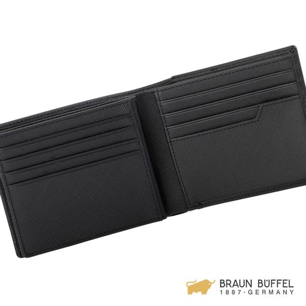 【BRAUN BUFFEL】CRAIG系列壓紋12卡中間翻皮夾 -黑色 BF338-317-BK