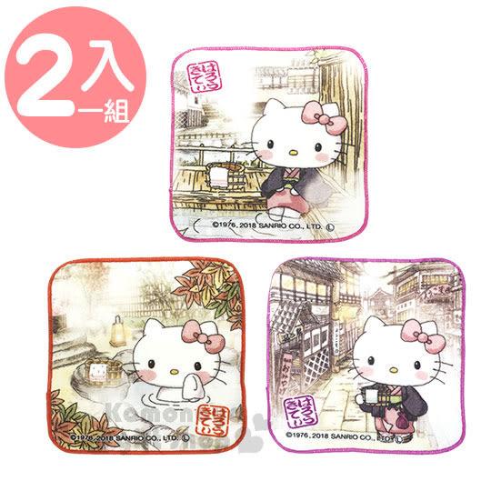 〔小禮堂〕Hello Kitty 純棉迷你小方巾組《3入.和服.站姿.溫泉》手帕.16x16cm 4991567-26313